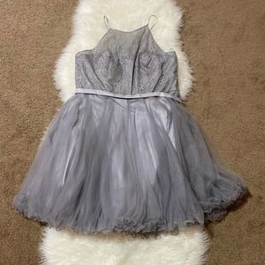 Tulle skirt dress silver with lace top corset back